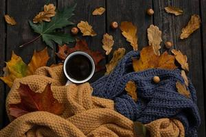 Flatlay Autumn Coffee and Leaves Photo
