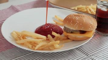 Pouring Ketchup and Eating Fast Foods video