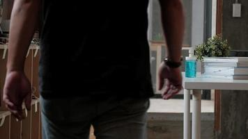 A Man Is Pressing a Pump for A Bottle of Alcohol Gel and Hand Cleaning. video