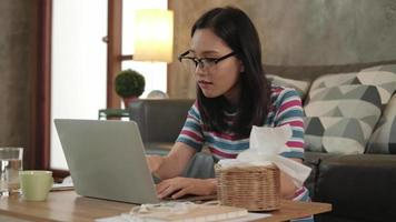 Asian Woman Using Laptop for Work from Home and Online Learning video