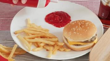 Fast Food Being Served on A White Plate video