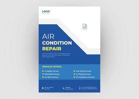 Air condition repair service flyer design vector