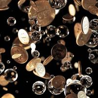 3D render concepto de bitcoin. nuevo dinero virtual. moneda criptográfica foto