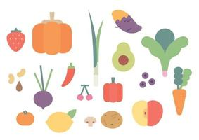 Fresh Fruits and vegetables. vector