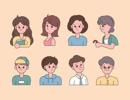 A collection of avatars by age with cute faces. vector