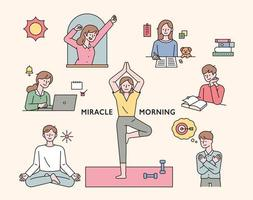 People doing morning routine for self-improvement. vector
