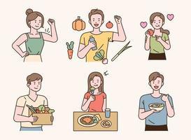 Vegetarian people with healthy vegetables fruits. vector