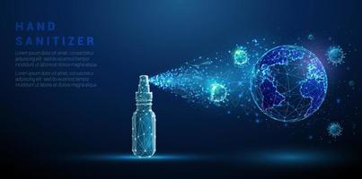 Hand sanitizer spreading on planet Earth destroying coronavirus. vector