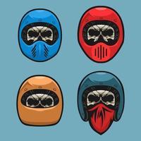 Set of skull biker helmet vector
