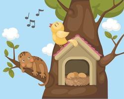nightingale bird on bird house vector