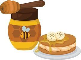 glass jar of honey on white background vector