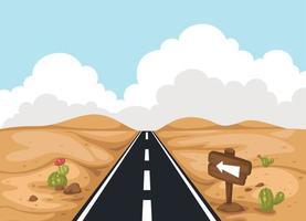 Desert landscape with road vector
