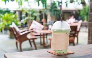 Milk green tea frappe in cafe photo