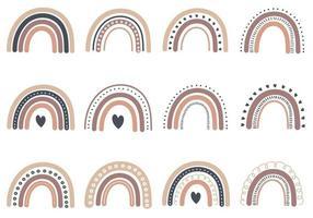 Boho Rainbow Hand Draw vector