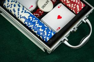 Gambling Red Dice Poker Cards and Coins photo