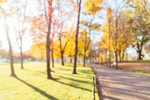 Hermoso fondo desenfocado de un parque en otoño foto