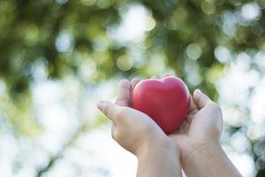 dos manos sosteniendo en forma de corazón rojo foto
