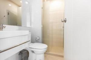 white bathroom in apartment photo