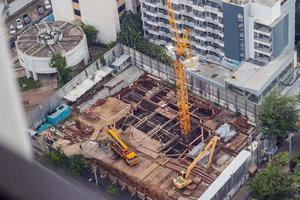 Construction site. Metal frame structures. Fragment. photo