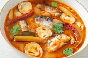 Tom Yum canned mackerel in spicy soup photo