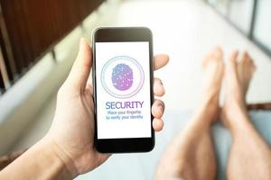 Fingertip Password Security Accessible Login. Mobile Security Concept. photo