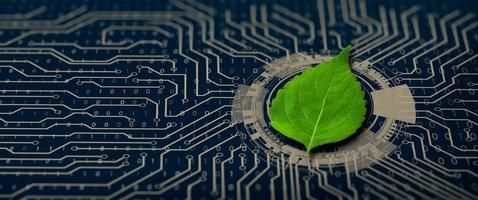 Green Computing, Green Technology, csr, and IT ethics Concept. photo