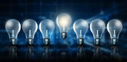 idea brillante de negocios, gran idea para el éxito y concepto de medios mixtos. foto