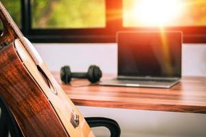 Guitar in home studio entertainment music photo