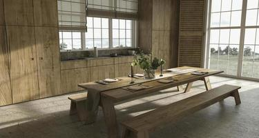 Scandinavian farmhouse style wooden kitchen with dining table photo