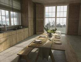 Scandinavian style wooden kitchen and  dining table with dishes photo