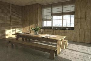Scandinavian style wooden kitchen with window blinds and dining table photo