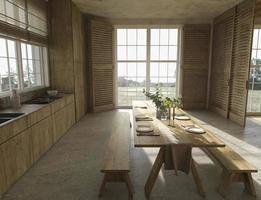 farmhouse style wooden kitchen and large windows with nature view photo