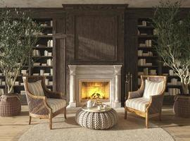 farmhouse style living room interior book library with fireplace photo