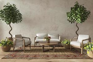 Scandinavian design living room interior with natural plants photo