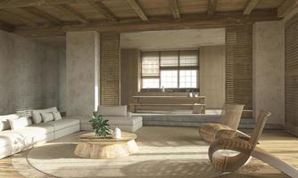 Scandinavian style beige living room interior with wooden furniture photo