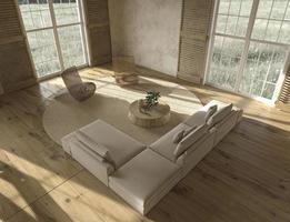 Scandinavian design living room interior top view photo