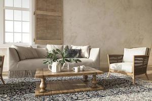 farmhouse style living room interior 3d render illustration photo