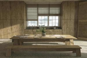 farmhouse style wooden kitchen and dining table with dishes photo