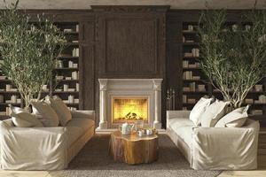 scandinavian design living room interior 3d render illustration photo