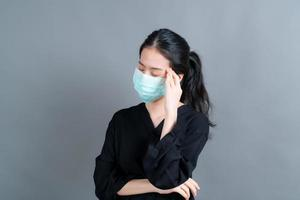 Asian woman wearing medical face mask protects filter dust pm2.5 photo