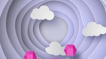 globos rosados ?? volando sobre un fondo de cielo azul en forma de curva video