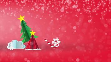 Merry Christmas and happy new year on red background, paper art video