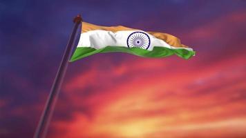 día de la independencia, bandera india, ondear, contra, un, cielo crepuscular video