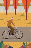 joven feliz monta una bicicleta vector