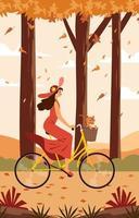 mujer joven feliz monta una bicicleta vector