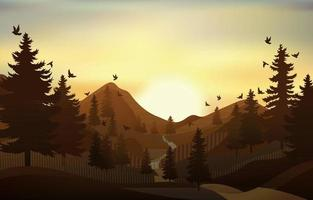 Nature Background of Mountain at Sunset vector