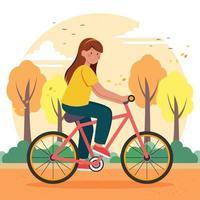 Peaceful Biking on Beautiful Autumn Season vector