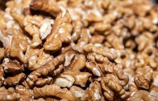 Nuez de alimentos crudos y saludables de cerca foto