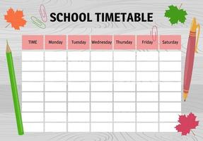 School timetable. Design of planner on wooden table. Weekly schedule vector