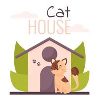 Cute illustration of a cat, house with plants, and lettering vector